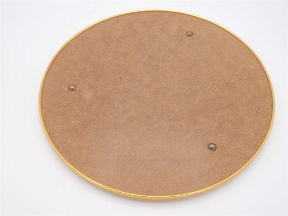 plateau miroir rond contour metal dore et 4 verres