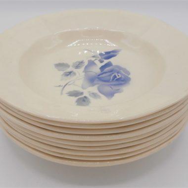 anciennes assiettes creuses digoin bleues roses