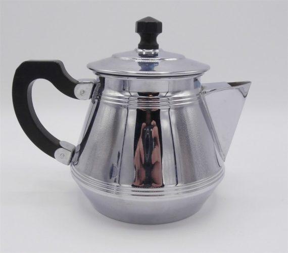 cafetiere et sucrier cuivre chrome vintage art deco