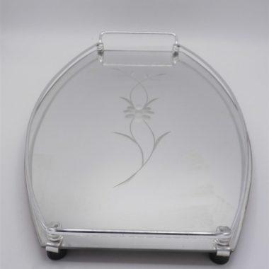 plateau miroir vintage fleur ciselee