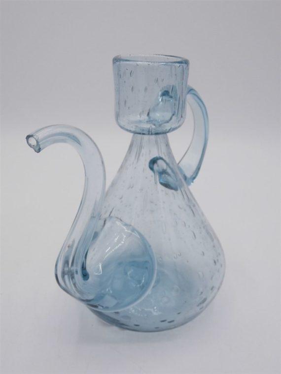carafe verre bulle bleu huilier vinaigrier