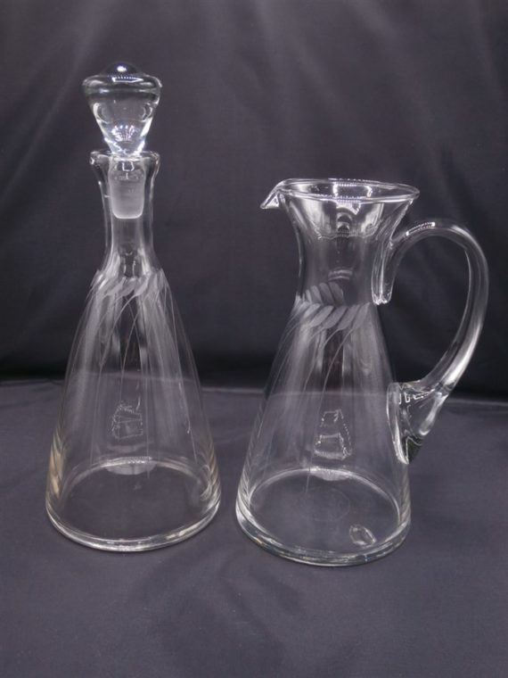 carafe ancienne vintage verre cisele
