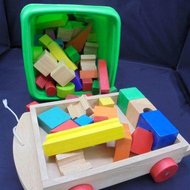 chariot cubes bois jeu enfant