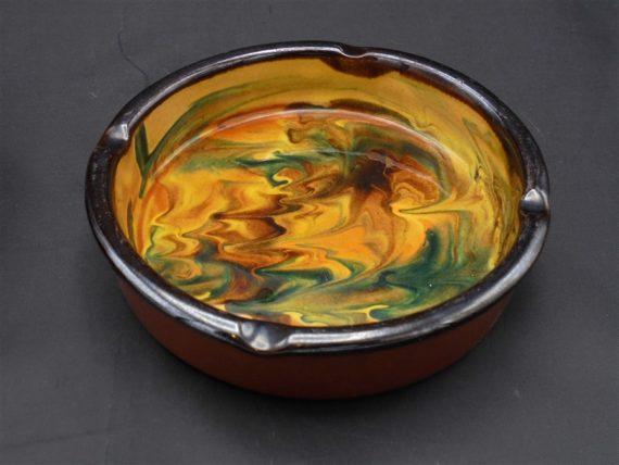 cendrier terre cuite colore jaune