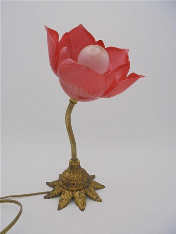 lampe fleur rouge 3D pied laiton
