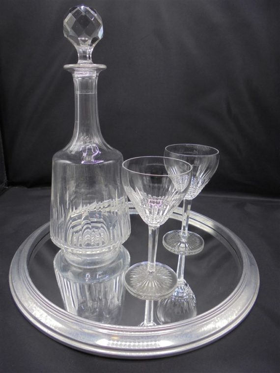 ensemble cristal carafe verres plateau miroir