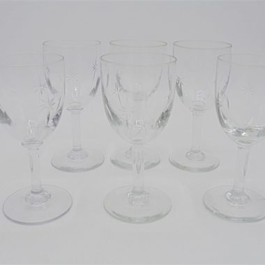 6 verres pieds petits cristal etoile digestif liqueur