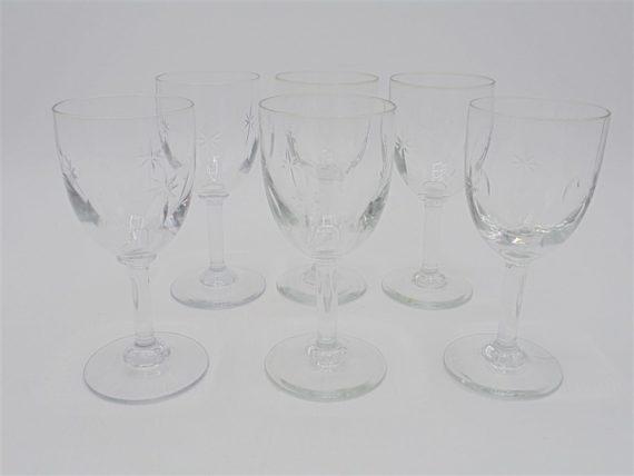 6 verres pieds petits cristal etoile