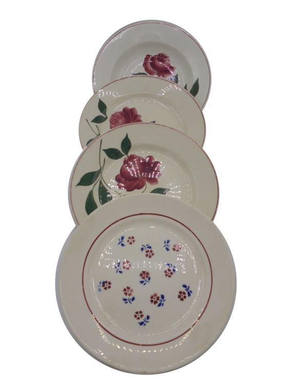 assiettes fleurs roses anciennes ceramique