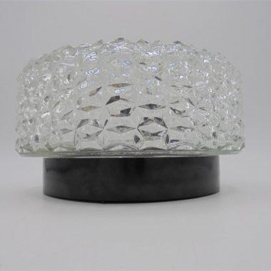plafonnier rond verre socle plastique