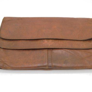 pochette range documents cuir brun tablette