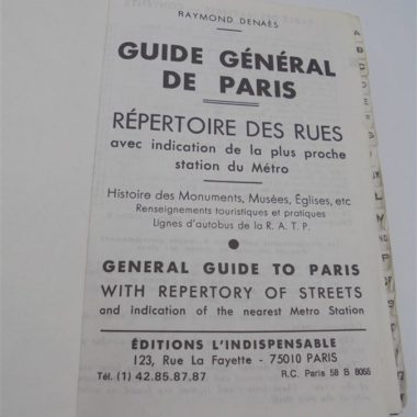 ancien livre poche plans paris