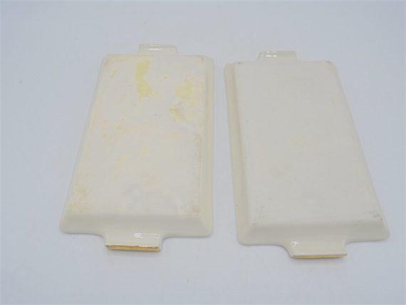 coupelles x 2 vide poche porte savon ceramique fleurs or