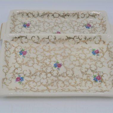 coupelles x2 vide poche porte savon ceramique fleurs or