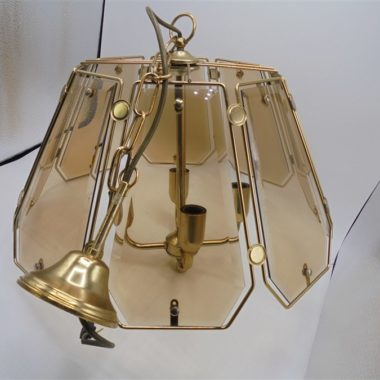 lustre suspension verre fume vintage
