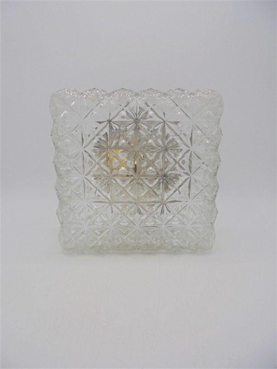 plafonnier luminaire carre verre vintage