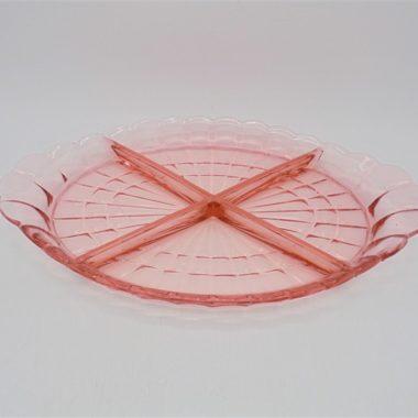 vintage plat compartimente rose verre