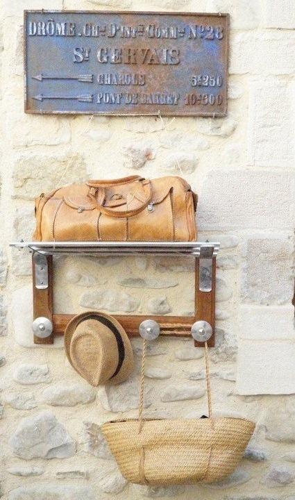 porte bagages portemanteau vintage train bois alu