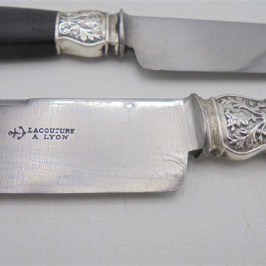 anciens couteaux ebene argent acier