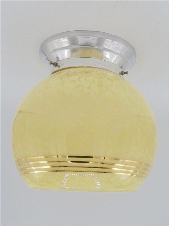 plafonnier globe art deco vintage verre mouchete jaune clichy
