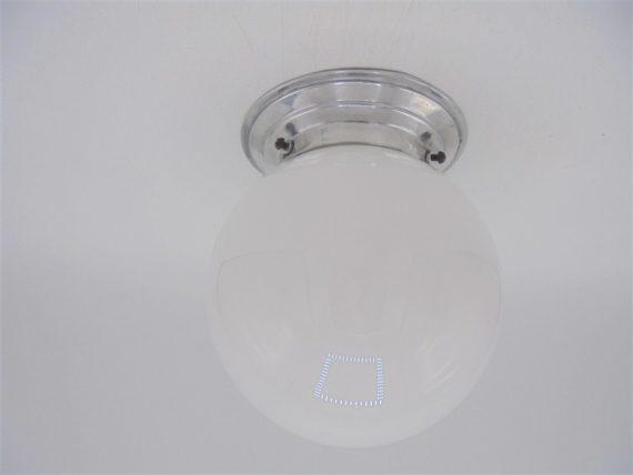 luminaire vintage opaline blanche boule art deco