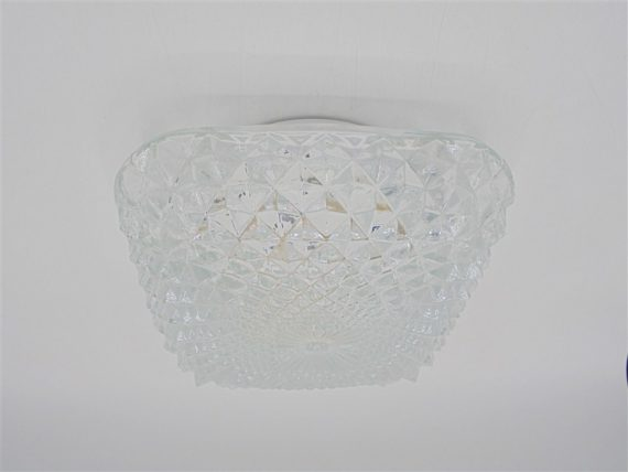 vintage luminaire plafonnier pointes bombe carre pics verre