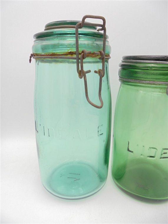 bocaux anciens vintage verre vert l ideale