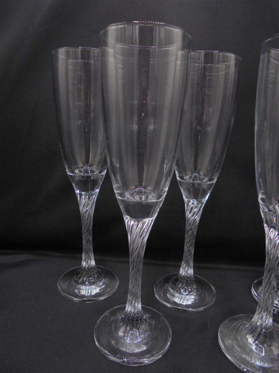 service 6 flutes champagne pieds torsades