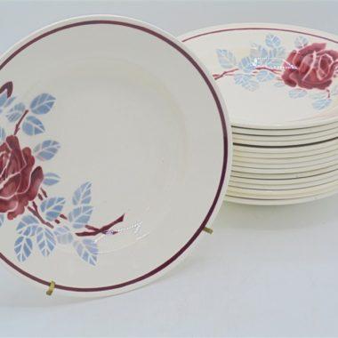 anciennes assiettes badonviller terre de fer belle rose creuse soupe
