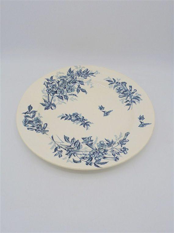 assiette plat ceramique ancienne bleu terre de fer