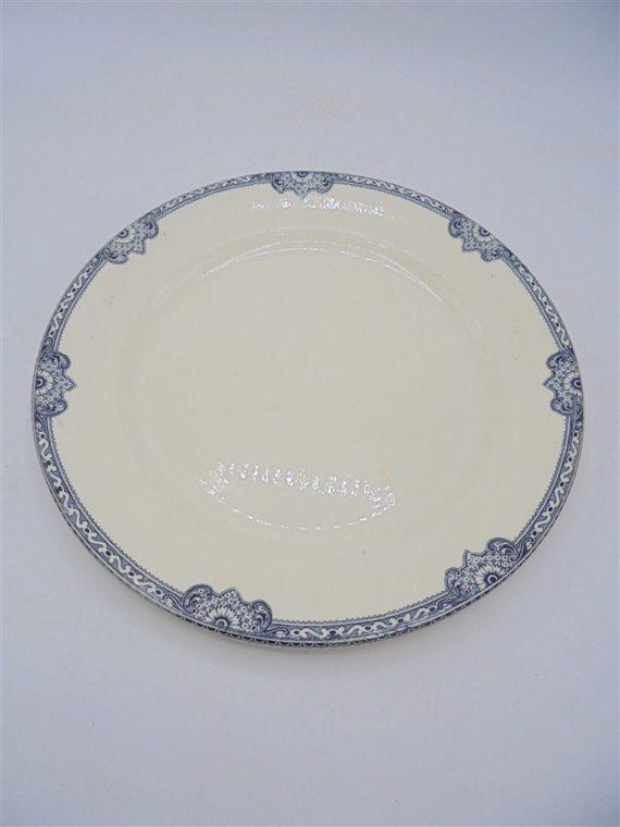 assiette plat ceramique ancienne bleu terre de fer badonviller