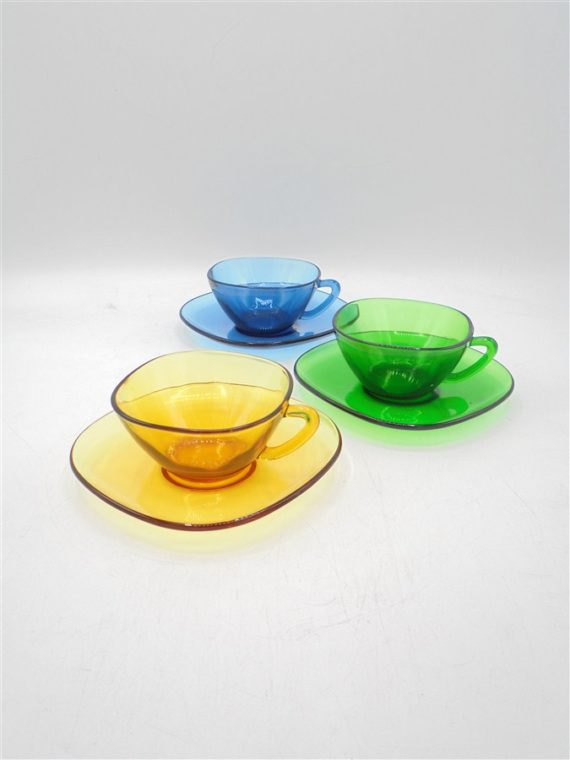 tasses vintage vereco colorees