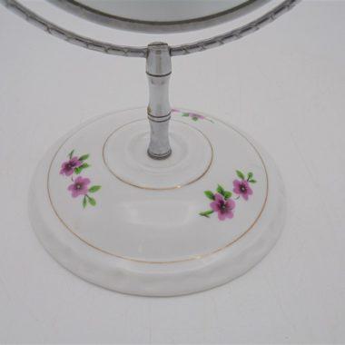 miroir rond pivotant socle porcelaine vintage