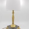 ancienne lampe a poser table laiton marbre