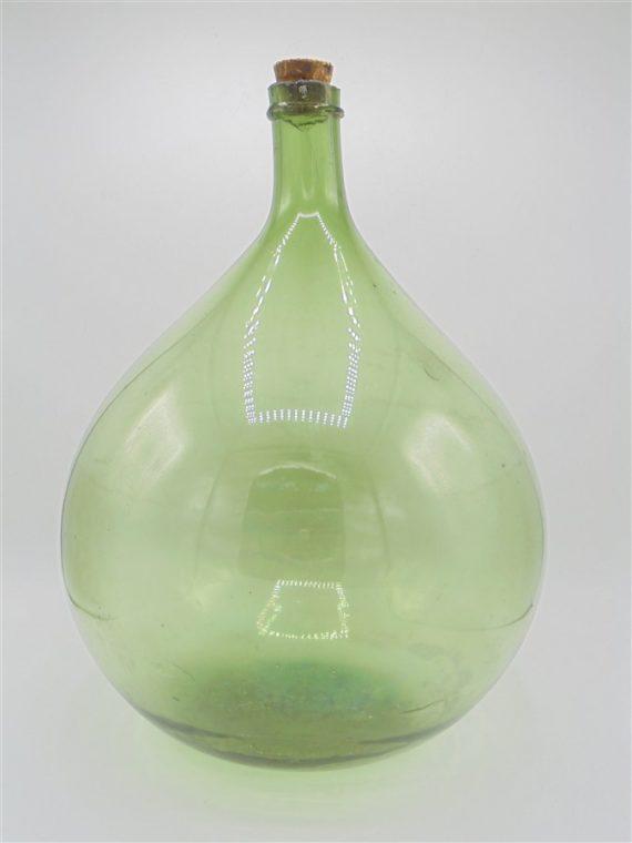 dame jeanne bonbonne ancienne verre souffle vert deco