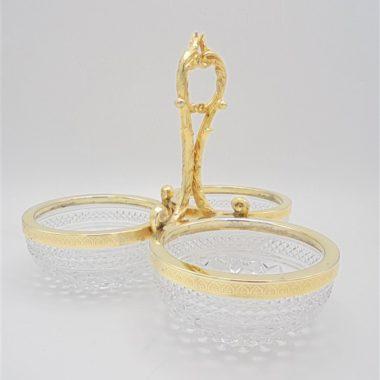 serviteur trois coupelles ramequins cristal metal dore