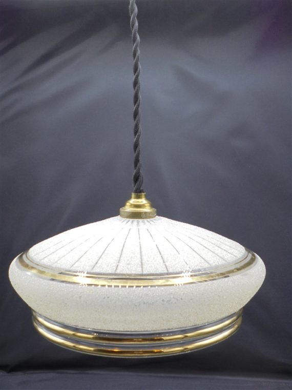 suspension luminaire ancien verre granite dorure art deco
