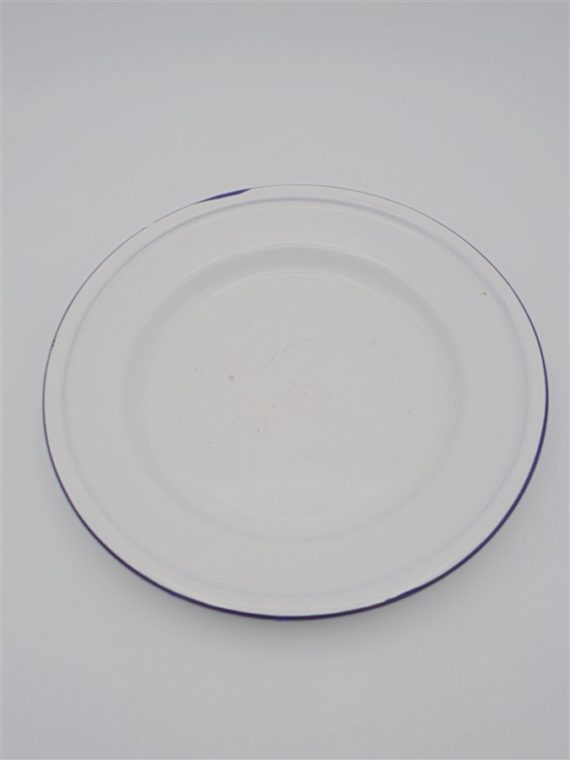 assiette gamelle tole emaillee blanche lisere bleu chine