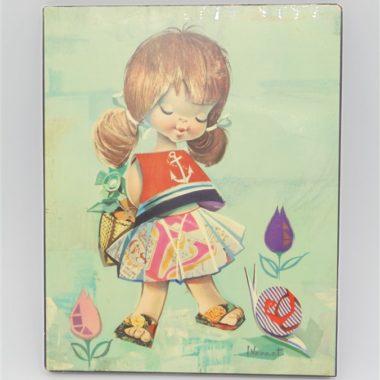 illustration vintage L-Vernet fillette escargot