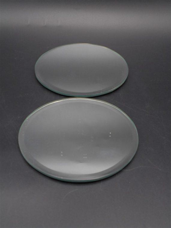 paire de petits plateaux miroir glace rond biseautes
