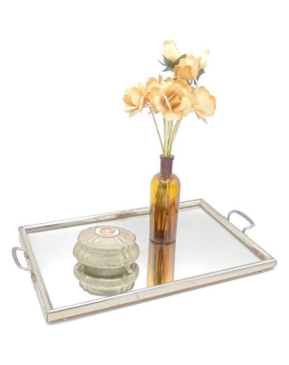 plateau ancien miroir glace contour metal boite bijoux italienne