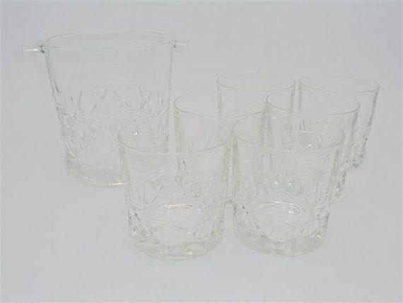 service a whisky seau a glace glacons et 6 verres