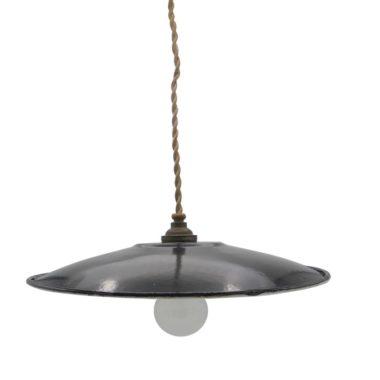 suspension vintage industrielle loft tole emaillee noire