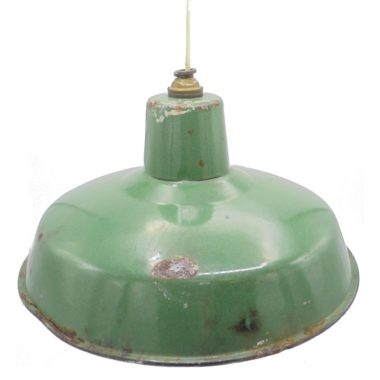 ancienne suspension industrielle tole emaillee verte