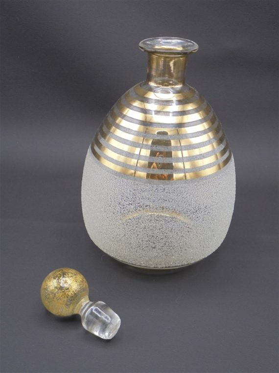 ancien flacon verre granite blanc et or