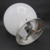 globe art deco opaline blanche socle aluminium