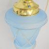 ancienne lampe luminaire suspension verre bleue et or