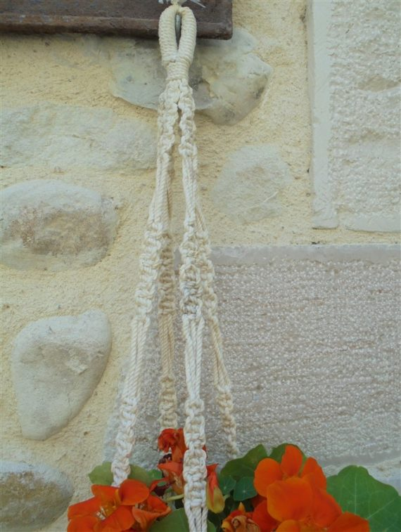 suspension pour plante en macrame
