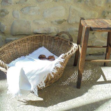 ancien drap de bain serviette nid d abeille coton franges