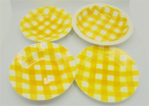 ensemble 4 pieces digoin sarreguemines anciennes assiettes plat modele ecossais jaune